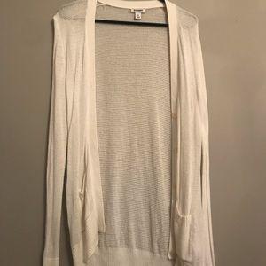 Long, white cardigan